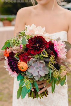 Fall bridal bouquet with dahlias, ranunculus, succulents, anemone, thistle... we ❤ this! moncheribridals.com