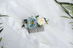 Blue flower hair comb, Bridal hair comb, flower comb, blue and white comb Flower Hair, Flowers In Hair, Purple Flowers, Faux Flowers, Dried Flowers, Metal Comb, Hair Combs, Different Flowers, Artificial Flowers