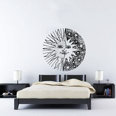 Wall Decal Vinyl Sticker Decals Art Home Decor Design Murals Sun Moon Crescent Dual Ethnic Stars Night Symbol Sunshine Fashion Bedroom AN419