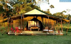 This glamping site overlooks savannah plains and offers a wide range of activities, from guided walking tours, to day and night game drives. It is a chance to enjoy an authentic safari experience.