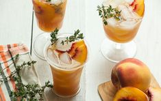The unexpected smokiness in this summer wine and fruit cocktail makes grilling the nectarines well worth it.