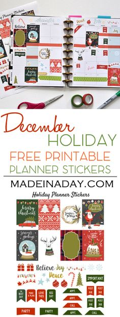 December Holiday FREE Printable Planner Stickers! Ugly Sweater, fruitcake, truck & tree, snow globe stickers for Christmas Happy Planner via @madeinaday