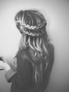 prom hair! double waterfall braid && the rest curled. I've gotta learn how to do it first.