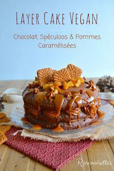 Rosenoisettes: Layer cake végan chocolat, spéculoos & pommes caramélisées