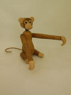 Wooden Monkey Made in Japan 1960s Wood Animal Toy to by ellesh71