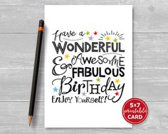 Printable Birthday Card Have A Wonderful By TheLittleRedCherry