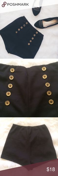 Black Shorts w/ Gold Buttons The buttons are not in new condition, but the shorts are in great condition! 96% Polyester, 4% Spandex. 0117170js.  ✅Reasonable offers welcome! ✅BUNDLE DISCOUNTS! No trades/paypal/other apps. No lowball offers Goodtime USA Shorts