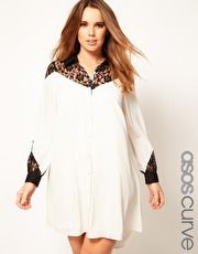 ASOS CURVE Exclusive Shirt Dress With Lace Detail