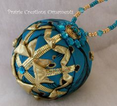 quilted ornaments | Folded Ribbon Quilted Christmas Ball Ornament Sparkling Gold and ...