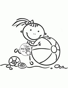 Little Girl With Beach Ball Coloring Page For Kids Seasons Pages Printables Free