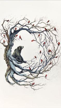 57 New Ideas Drawing Cute Bear Art Prints Art Et Illustration, Illustrations, Illustration Meaning, Art D'ours, Tree Tattoo Designs, Tattoo Tree, Tree Branch Tattoo, Tattoo Ideas, Drawn Art