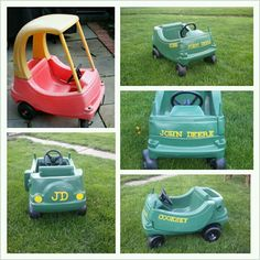 Cozy coupe turned into a john deers convertable. Backyard For Kids, Diy For Kids, Little Tykes Car, Little Tikes Makeover, Cozy Coupe Makeover, John Deere Kids, Do It Yourself Crafts, Disney Cars, Craft Party