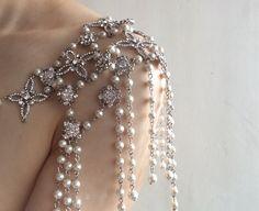 Boda nupcial perlas y cristales de Swarovski rhinestones
