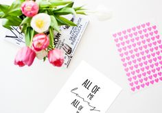 Colorful tulips flowers decor next to a romantic love quote print from EpicDesignShop.com