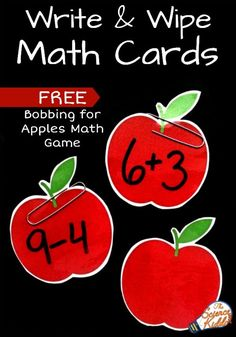Fun bobbing for apples addition and subtraction math game for kids!