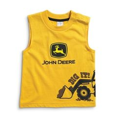 "John Deere Infant Sleeves Boys ""Dig it"" Yellow T-shirts | WeGotGreen.com"