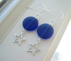 Cobalt Blue Earrings  Star Jewelry  Star by Sparkleandswirl, $18.00