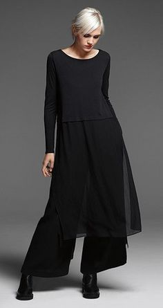 Love this look! EILEEN FISHER: New Arrivals: Black Silk Dress, Wide-Leg Velvet Pant + Chelsea Bootie