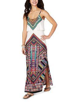Magenta & Teal Tribal Popover Maxi Dress | rue21
