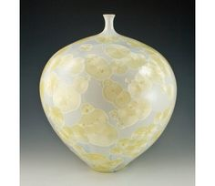 Large Golden Crystalline Vase by MarieWrightPottery on Etsy