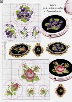 Small Cross Stitch, Cross Stitch Rose, Cross Stitch Flowers, Cross Stitch Designs, Cross Stitch Patterns, Ribbon Embroidery, Cross Stitch Embroidery, Embroidery Patterns, Bead Art