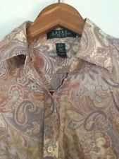 Ralph Lauren Petite Button Down Shirt Paisley Sz-P/S Cotton EUC
