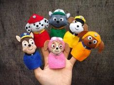 Paw Patrol team finger puppets. Each item is hand stitched. You will receive 6 characters: Chase Marshall Rocky Rubble Zuma Skye Materials : Felt, Stuffing, thread, bead