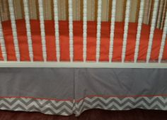 Baby Crib Skirt Solid Grey on top with  Grey Chevron on the bottom combo colors . Custom Piping Cord, Bedding. Valance Avble. Free Shipping by PrettyThreads22 on Etsy