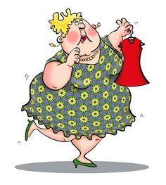 fat lady, dress, ugly, humorous, cartoon, digital illustration