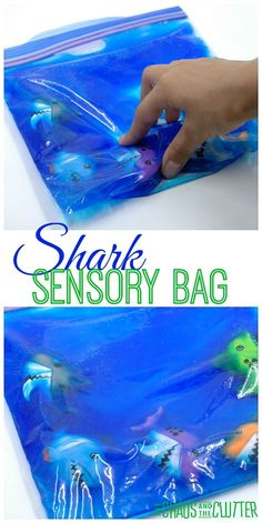Squishy Shark Sensory Bag - a fun sensory activity for toddlers and preschoolers This squishy shark sensory bag is so cute. It's great for toddlers and preschoolers and would be especially great for Shark Week. Shark Activities, Sensory Activities Toddlers, Sensory Bags, Autism Activities, Sensory Bottles, Art Therapy Activities, Toddler Preschool, Toddler Crafts, Sensory Play