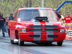 Chris Cadotto 1997 Dodge Ram 526 BAE Hemi, 18-71 M5 roots supercharger, 2 speed Rossler turbo glide transmission.