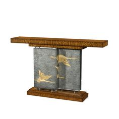A Hyedua veneered console table, the rectangular top supported by two offset pewter Argento panels painted with flying cranes and with acrylic bases and capitals, on a stepped plinth base. Crane, New Homes, Modern, Console Tables, Georgian, Consoles, Home Decor, English, America