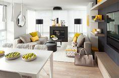 un très beau mélange de gris, blanc, noir et petits accents jaunes, salon gris et blanc admirable
