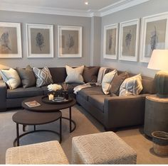 Grey blue and brown living room design grey and tan living room inspiration Living Room Grey, Living Room Sofa, Home Living Room, Living Room Designs, Living Room Furniture, Furniture Layout, Grey Room, Furniture Arrangement, Cozy Living