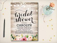 Rustic Bridal Shower Invitation Watercolor Peony Roses