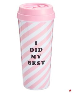 """Keep your tea and coffee hot, so you can keep your cool and say, """"I Did My Best."""" Get this pink striped ban.do thermal mug at Macy's!"""