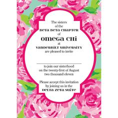 I've always heard Omega Chi had cute invitations! Can't wait until I can rush, ah!