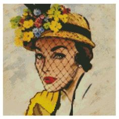 0 point de croix femme chapeau 1950 - cross stitch  vintage lady 1950