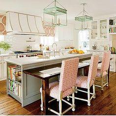 Southern Living - kitchens - french kitchen hood, white kitchen hood, subway tile, subway tile backsplash, 6 burner gas range, gas range, wh...
