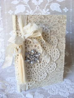 Lace Vintage Doily Fabric Wedding Journal Diary by ShabbySoul