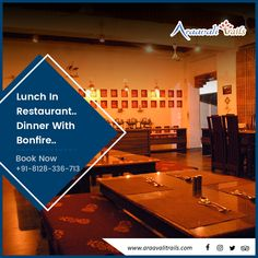 Localites don't need to book the hotel for enjoying supper at our restaurant… You can come in to dine anytime with your folks at Arravali Trails… . Adventure Resort, Best Resorts, Mountain View, Trail, Picnic, Restaurant, Dining, Book, Tasty