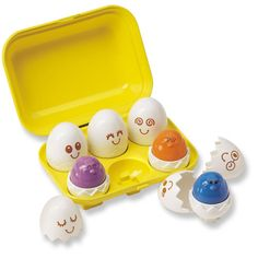 Peek & Peep Eggs and thousands more of the very best toys at Fat Brain Toys. A half of a dozen cute, educational eggs packed with fun. Includes six bright colored chicks each in their own egg shell, nestled into a bold yellow egg carton.