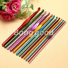 Multicolour Aluminum Plastic Handle Crochet Hook Knitting Needle Set Weave Yarn | eBay