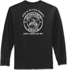 8fe0836a Details about My Gun Permit Second Amendment T-Shirt DONT TREAD ON ME Mens  Long Sleeve S to 4X