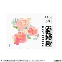 Peonies Summer Bouquet Watercolor Pastel Postage Stamp @zazzle #junkydotcom Aug 11 2016  3x