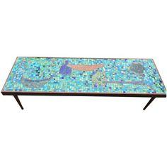 Image of Mid Century Bohemian Tile Art Mosaic Coffee Table