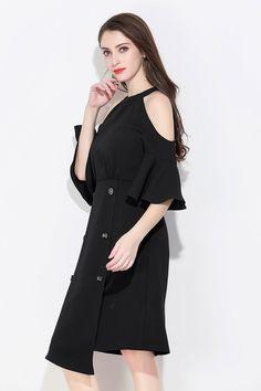 aefbca607d0e Women black summer off shoulder halter dress polyester knee length dresses  women casual elegant slim plus size dress 2018