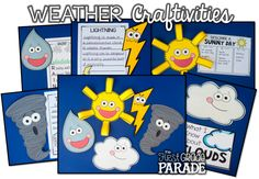 All about the weather! Non-fiction weather related science and ELA activities. Cross curricular weather math activities, too! Lots of weather ideas! Preschool Weather, Weather Crafts, Weather Science, Weather Unit, Weather Activities, Weather And Climate, Science Activities, Science Projects, Weather Kindergarten