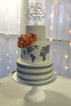 If traveling is a passion for you, I'm sure you'll love these trip-themed wedding cakes. In addition to the travel wedding cakes. Themed Wedding Cakes, Wedding Themes, Our Wedding, Dream Wedding, Wedding Ideas, Wedding Reception, Cute Cakes, Pretty Cakes, Beautiful Cakes