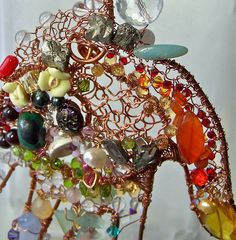 Copper Sculpture with Gemstones, Pearls, Swarovski Crystals, Lampwork Beads, Shells. Each Piece OOAK - this is the life size prototype. Designing the light box -       CLICK on the pic for more details.  http://www.multicolorgems.com